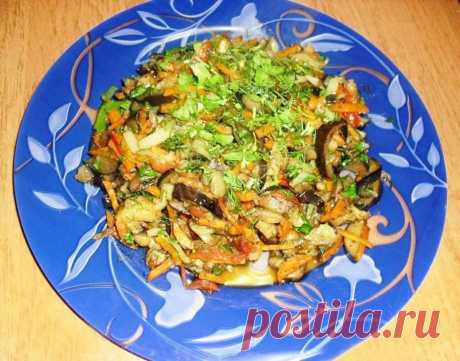 Баклажаны тушеные с овощами быстро и просто рецепт с фото