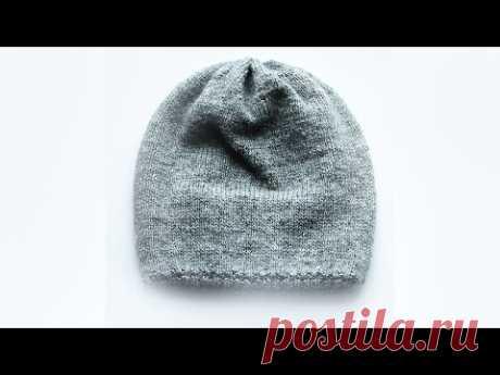 Вязание шапки спицами How to knit a Hat - ❄⛄☀☁❄ ПРОСТАЯ шапка спицами