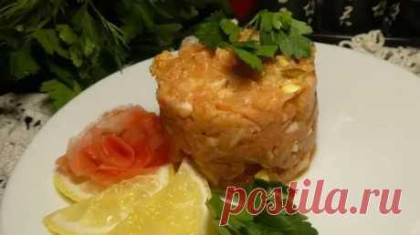 Рецепт приготовление - Тартар из лосося - экономвариант с лососевых хребтов - Закуски и бутерброды, Из рыбы и морепродуктов - La-Minute