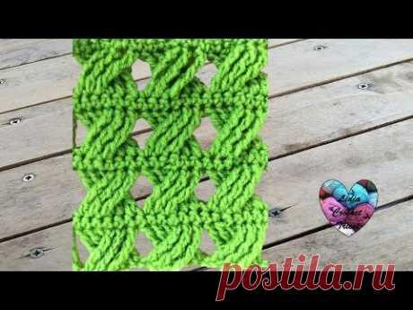 Crochet Point fantaisie tressé très facile / Punto fantasia trenzado tejido a crochet - YouTube