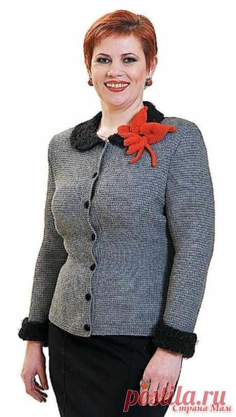 """Жакет """"Деловой"""". Тунисское вязание. - ВЯЗАНАЯ МОДА+ ДЛЯ НЕМОДЕЛЬНЫХ ДАМ - Страна Мам"""