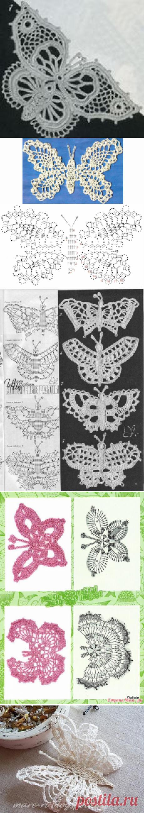 Вязание крючком - Бабочки крючком - Подборка из 38 схем