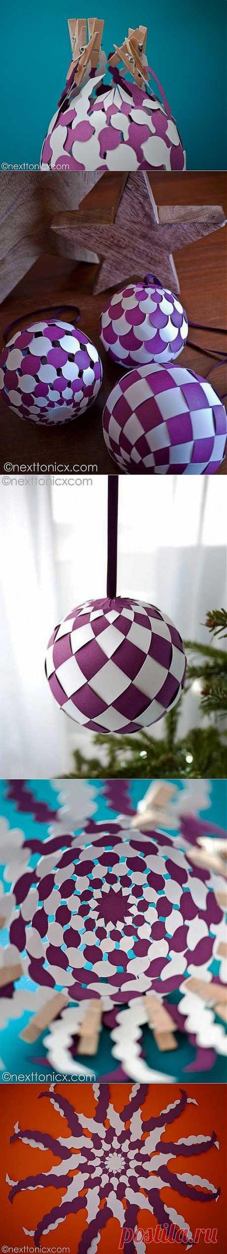 Поделки своими руками - Делаем красивые шары из бумаги своими руками. Идея хороша как для Нового года, так и для Пасхи.