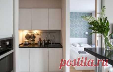 Дизайн-проект квартиры 20 кв.м. в белом и фиолетовом цвете