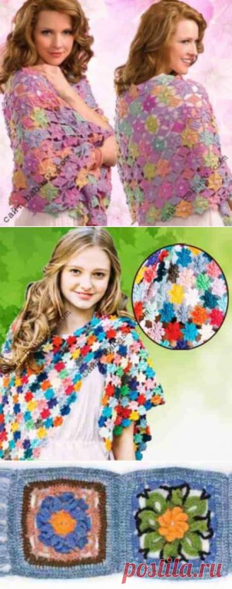 Шарф из цветочных мотивов: 3 цветочных шарфа связаны крючком
