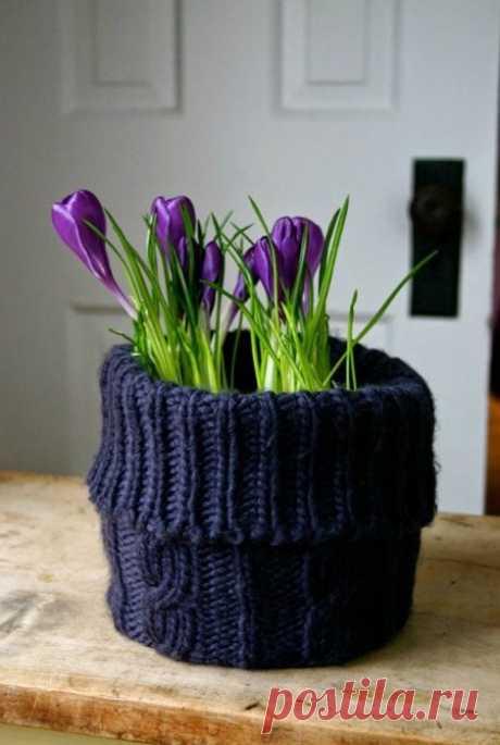 Тёплая ваза Модная одежда и дизайн интерьера своими руками