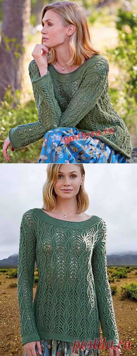 Темно-зеленый пуловер с ажурным узором из «кос». Вязание спицами со схемами и описанием