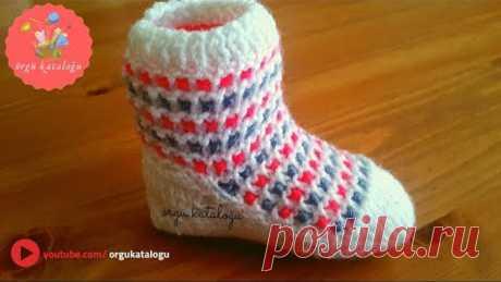 #37 İki Şişle Bebek Botu - Örgü Modelleri / Knitted Baby Boots