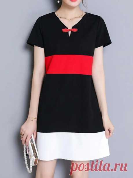 Elegant Women Patchwork Plate Buckle Short Sleeve A-Line Dresses - US$20.99