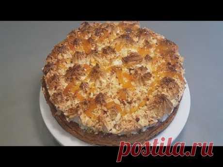 Песочный пирог с абрикосовым джемом и белковым кремом Вкусный и Простой