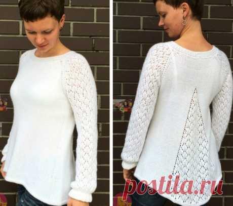Вязаные пуловеры, Пуловер спицами с клинообразным расширением сзади