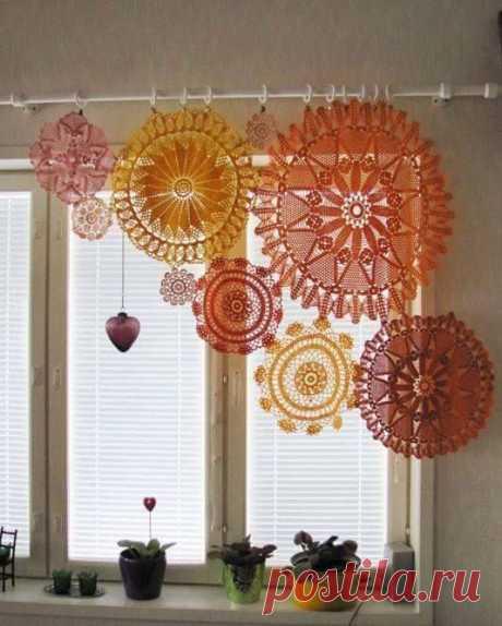 Салфеточные шторы (подборка) Модная одежда и дизайн интерьера своими руками