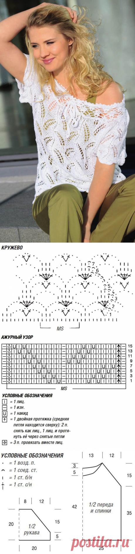 El pulóver con los hombros abiertos por los rayos por la cinta chiné - el Portal de la costura y la moda