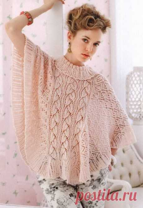 Beautiful openwork poncho - Knitted models spokes for women