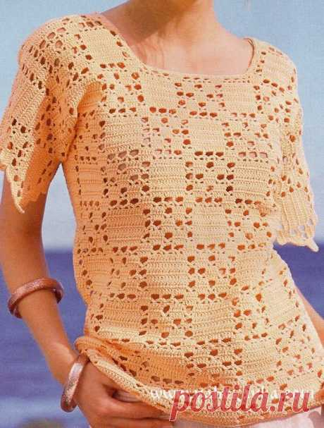 Jacket fillet pattern + SCHEME. Summer models a hook with schemes the Apricot jacket a fillet pattern. The jacket one cloth matches. For knitting use enclosed by a pattern and schemes
