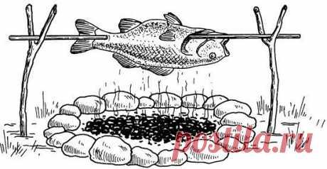 10 СПОСОБОВ ПРИГОТОВЛЕНИЯ РЫБЫ НА КОСТРЕ 1 СПОСОБ. РЫБА, ЗАПЕЧЕННАЯ В ГЛИНЕ 1.1. Развести костер. Рыбу выпотрошить, чешую оставить. Натереть рыбу изнутри солью, положить внутрь лук, перец горошком, лавровый лист. Обмазать тушку глиной слоем 3-4 см и на 25-30 минут завалить горячими углями, сверху развести огонь. Готовую рыбу чистить не придется, так как чешуя отваливается вместе с глиной. Некоторые рыбаки предварительно заворачивают рыбу в листья капусты, лопуха, крапивы, дикой смородины. В…