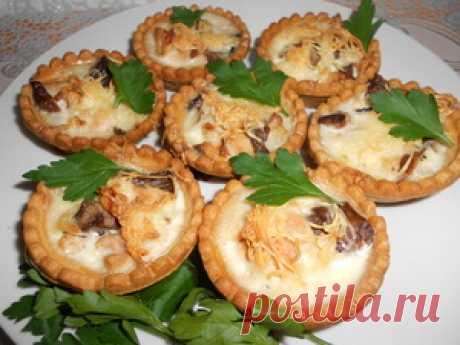 Запеченная курица с грибами в тарталетках рецепт с фотографиями