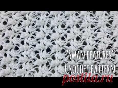 """Как связать простой УЗОР КРЮЧКОМ """"Swan Feathers"""" / СХЕМА узора / Crochet Pattern / Tutorial"""