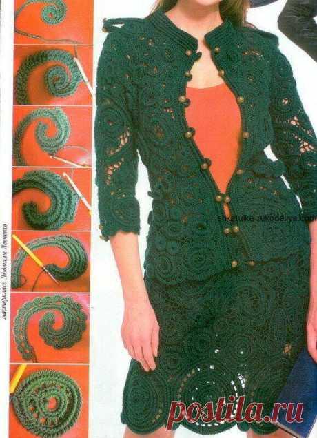Жакет и юбка ирландским кружевом   Тысяча и одна идея