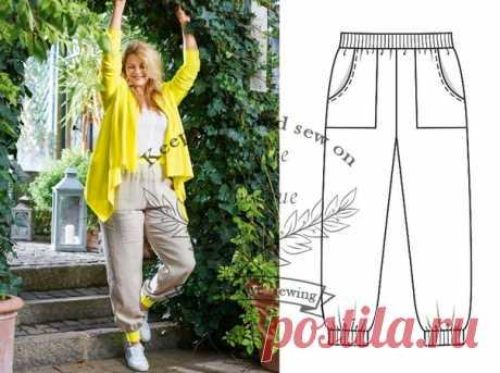 Выкройка  брюки джоггеры (размеры 44 - 52) #шитье #выкройка #woman #выкройки_для_полных