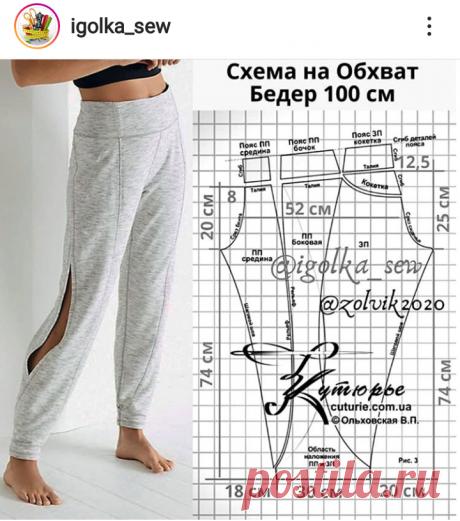 Выкройка спортивных брюк 🔹шитье, выкройка, шью сама, женские брюки, схема выкройки 🔹