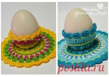 Подставка под пасхальное яйцо крючком в стиле мандала. Мастер-класс Анны Паращенко
