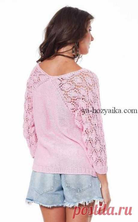 Вязаный пуловер с ажурными рукавами. Ажур на рукавах и спинке описание