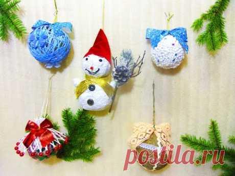 Елочные игрушки своими руками  новогодние игрушки на елку - YouTube