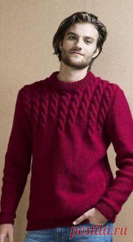 """Теплый мужской свитер, связанный спицами Конкурс """"Счастливый комментарий"""" - комментируй публикации, получай призы каждую неделю! Детали конкурса читайте здесь ЗДЕСЬ"""