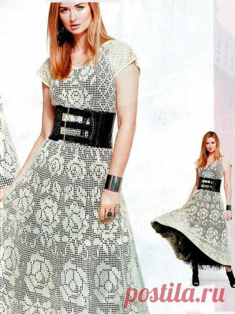 5 платьев на основе филейного полотна со схемами   Easy_crochet_style   Яндекс Дзен