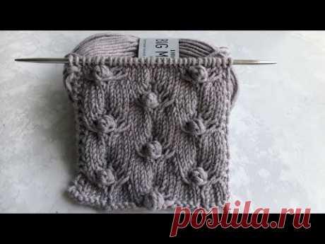 Очень красивый узор спицами ( + схема) для свитеров, кардиганов. Красивые шишечки спицами / крючком.