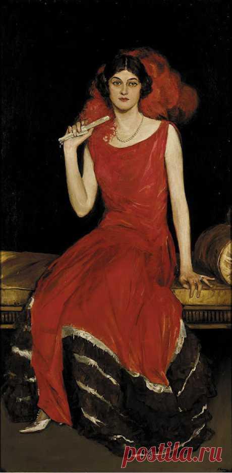 John Lavery - Lady in Red, Portrait of Constance Bridges