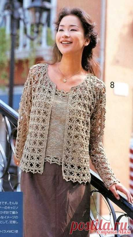 Openwork two (top and jacket). Spokes + hook. - KNITTED FASHION + FOR NOT MODEL LADIES - the Country of Mothers
