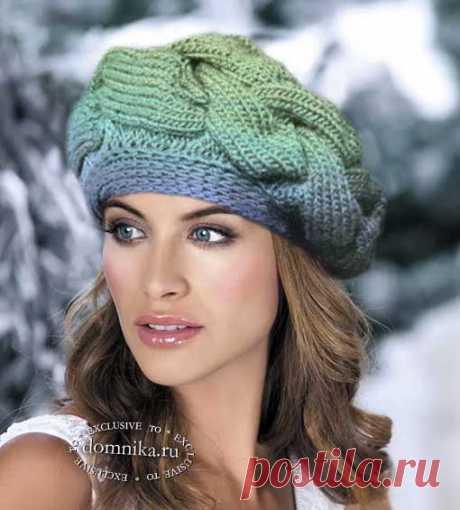 Вязание спицами берета с косой - подробное описание вязания шапки