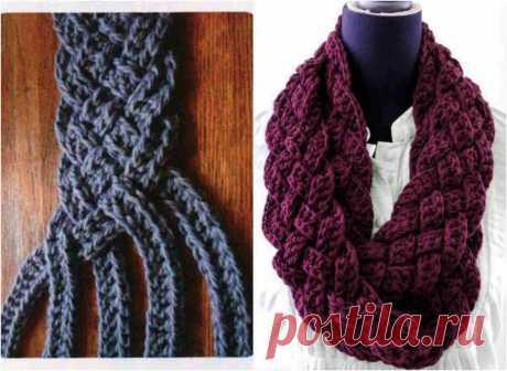 Яркий и нарядный вязаный шарф-снуд в технике макраме! .