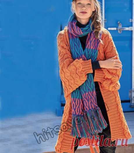 Модное вязаное пальто и шарф для женщин со схемой и пошаговым  описанием вязания спицами.