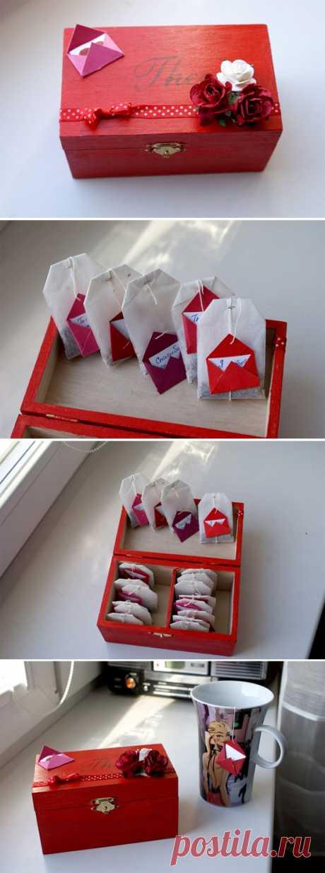 Отличный подарок любителям чая. Создаем послания (надписи) на чайных пакетиках.