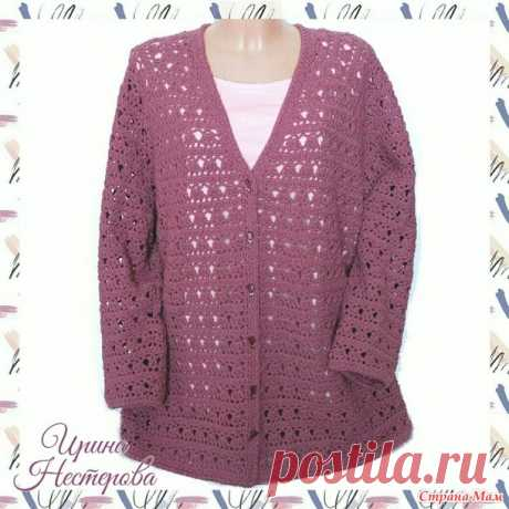 Openwork cardigan a hook - Knitting - the Country of Mothers