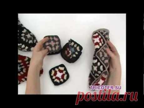 Носки крючком из квадратов