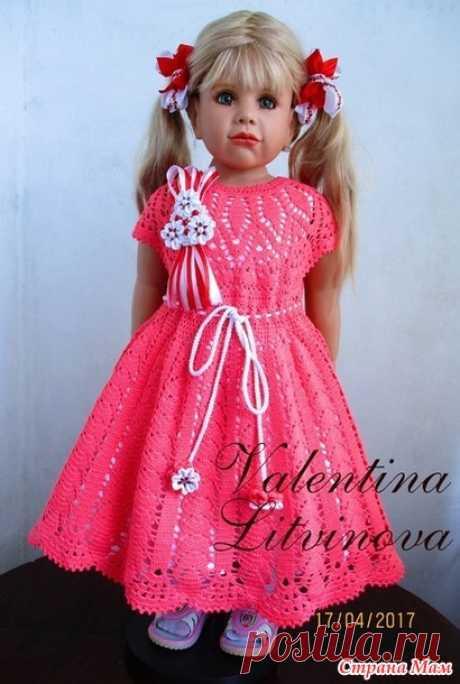 """Платьице """"Розовый фламинго"""". - Вязание - Страна Мам"""