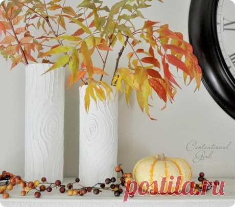 Идея декорирования вазы горячим клеем. Мастер-класс.