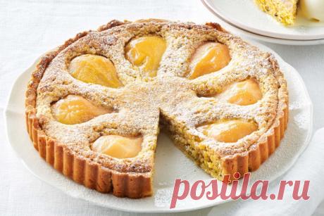El pastel de pera con franzhipanom