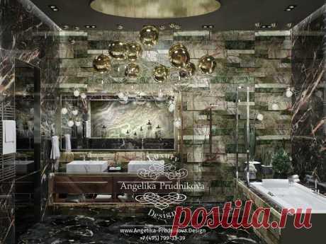 Дизайн-проект интерьера ванной комнаты в современном стиле