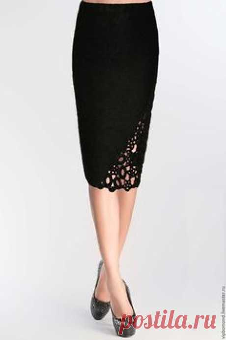 Купить Юбка-карандаш дизайнерская из вязаного трикотажа - черный, трикотаж от кутюр, трикотажная юбка
