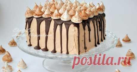 """Торт """"Шоколадно-кофейный с безе""""         Безумно вкусный торт! Аромат кофе, вкус шоколада и нежный сливочный крем. Готовиться чрезвычайно просто, и очень быстро съедается. Т..."""