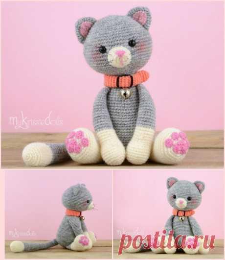 Очаровательный котик крючком. Описание вязания (Вязаные игрушки) – Журнал Вдохновение Рукодельницы