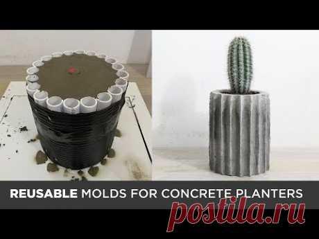 DIY Concrete Planters Cast in REUSABLE MOLDS - YouTube