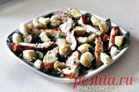 """Салат """"Цезарь"""" с шпинатом - рецепт с фото пошагово Салат """"Цезарь"""" с шпинатом - пошаговый кулинарный рецепт приготовления с фото, шаг за шагом."""