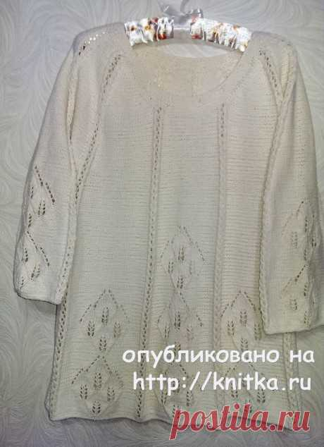 Женский пуловер спицами. Работа Эвелины Никандровой, Вязание для женщин