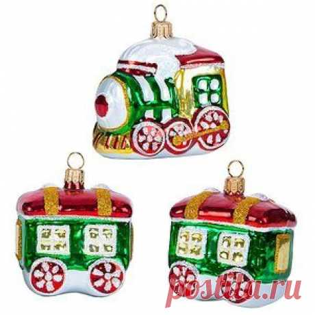 """Set of Vintage glass Christmas toys """"Merry Train"""" 7 cm, 3 Pieces, Pendants Set of Vintage glass Christmas toys """"Merry Train"""" 7 cm, 3 Pieces, Pendants  Article: c1392  country Russia  Set of Christmas toys """" Merry train""""  Specifications:  Set includes: 3 PCs.  Toy size: 7*5*5 see, 6.5*6.5*5 see, 6.5*6.5*5 see  Material..."""